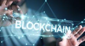 Zakenman die blockchain 3D renderi van de cryptocurrencyinterface gebruiken Stock Foto's