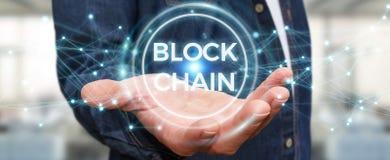 Zakenman die blockchain 3D renderi van de cryptocurrencyinterface gebruiken Royalty-vrije Stock Afbeeldingen