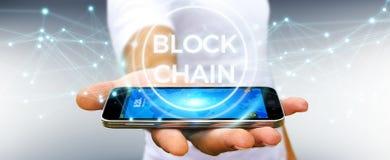 Zakenman die blockchain 3D renderi van de cryptocurrencyinterface gebruiken Stock Afbeeldingen