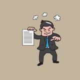 Zakenman die boos en beeldverhaal richten stock illustratie