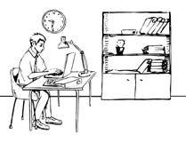 Zakenman die in bureau met computer en documenten werken Stock Foto