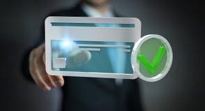 Zakenman die creditcard gebruiken om het online 3D teruggeven te betalen Stock Afbeelding