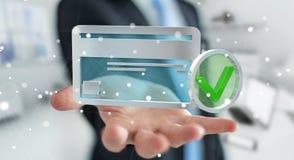 Zakenman die creditcard gebruiken om het online 3D teruggeven te betalen Stock Fotografie