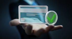 Zakenman die creditcard gebruiken om het online 3D teruggeven te betalen Stock Foto's
