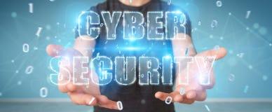 Zakenman die cyber het hologram van de veiligheidstekst het 3D teruggeven gebruiken Royalty-vrije Stock Fotografie