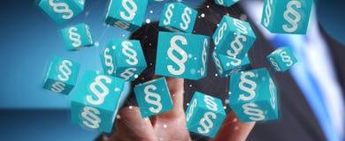 Zakenman die 3D het teruggeven wetskubussen gebruiken Royalty-vrije Stock Afbeelding
