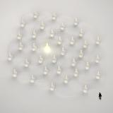 Zakenman die 3d licht lopen die menselijk sociaal netwerk kweken stock illustratie