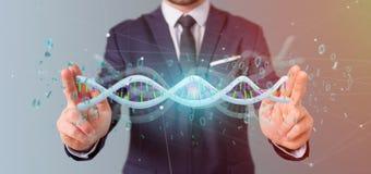 Zakenman die 3d teruggevende gegevens gecodeerd houden DNA met binair FI Stock Foto's