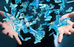 Zakenman die 3D teruggevende groep blauwe mensen houden Stock Afbeeldingen