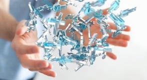 Zakenman die 3D teruggevende groep blauwe mensen houden Royalty-vrije Stock Foto's