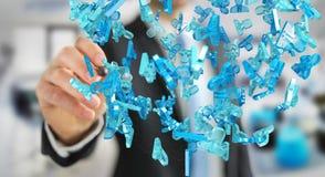 Zakenman die 3D teruggevende groep blauwe mensen houden Royalty-vrije Stock Afbeelding