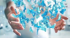 Zakenman die 3D teruggevende groep blauwe mensen houden Stock Foto