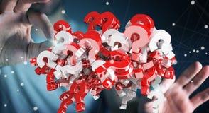 Zakenman die 3D teruggevende vraagtekens gebruiken Royalty-vrije Stock Afbeeldingen