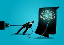 Zakenman die de hersenen proberen af te sluiten vector illustratie