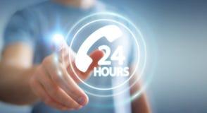 Zakenman die de hulp van de hotlineklant het 3D teruggeven gebruiken Stock Foto
