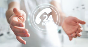 Zakenman die de hulp van de hotlineklant het 3D teruggeven gebruiken Royalty-vrije Stock Foto's