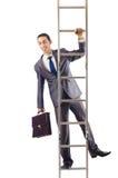 Zakenman die de ladder beklimmen Stock Foto's