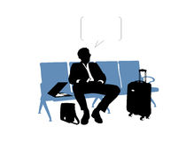 Zakenman die in de luchthaven wachten vector illustratie