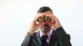 Zakenman die de toekomst proberen te voorspellen stock video