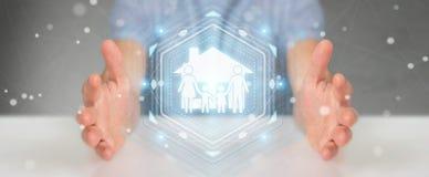 Zakenman die de verzekeringstoepassing van de familiezorg het 3D teruggeven gebruiken Royalty-vrije Stock Fotografie