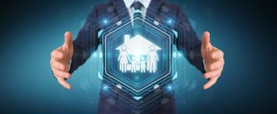 Zakenman die de verzekeringstoepassing van de familiezorg het 3D teruggeven gebruiken Stock Fotografie