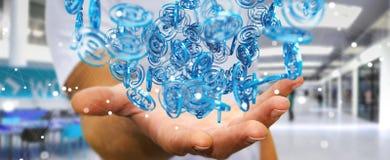 Zakenman die digitaal arobase blauw gebied gebruiken om op intern te surfen Royalty-vrije Stock Foto