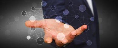 Zakenman die digitaal informatienet in zijn hand 3D renderin houden Stock Fotografie