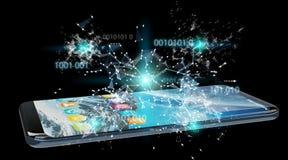 Zakenman die digitale binaire code inzake mobiele telefoon 3D renderi gebruiken Stock Foto's