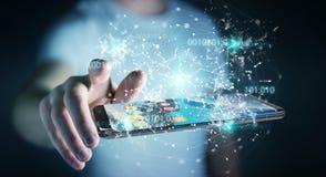 Zakenman die digitale binaire code inzake mobiele telefoon 3D renderi gebruiken Stock Afbeeldingen