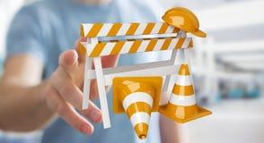 Zakenman die digitale 3D gebruiken in aanbouw teruggevend tekens Stock Afbeeldingen