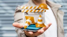 Zakenman die digitale 3D gebruiken in aanbouw teruggevend tekens Royalty-vrije Stock Afbeeldingen