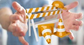 Zakenman die digitale 3D gebruiken in aanbouw teruggevend tekens Stock Foto's