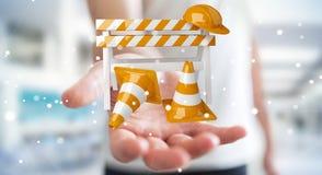 Zakenman die digitale 3D gebruiken in aanbouw teruggevend tekens Royalty-vrije Stock Fotografie