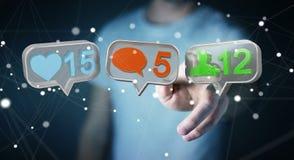 Zakenman die digitale kleurrijke sociale media pictogrammen 3D renderi gebruiken Stock Afbeeldingen