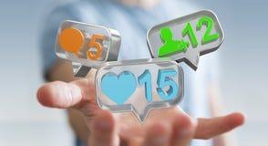 Zakenman die digitale kleurrijke sociale media pictogrammen 3D renderi gebruiken Royalty-vrije Stock Foto