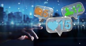 Zakenman die digitale kleurrijke sociale media pictogrammen 3D renderi gebruiken Royalty-vrije Stock Foto's