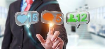 Zakenman die digitale kleurrijke sociale media pictogrammen 3D renderi gebruiken Royalty-vrije Stock Afbeelding