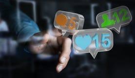 Zakenman die digitale kleurrijke sociale media pictogrammen 3D renderi gebruiken Stock Afbeelding