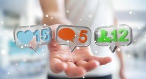 Zakenman die digitale kleurrijke sociale media pictogrammen 3D renderi gebruiken Royalty-vrije Stock Fotografie