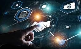 Zakenman die digitale presentatie voor vennootschapzaken gebruiken Royalty-vrije Stock Afbeelding