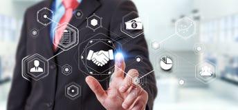 Zakenman die digitale presentatie voor vennootschapzaken gebruiken Royalty-vrije Stock Foto