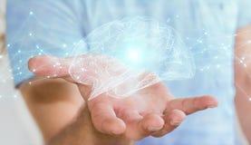 Zakenman die digitale x-ray menselijke 3D renderi van de herseneninterface gebruiken Stock Foto