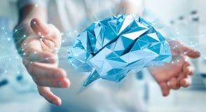 Zakenman die digitale x-ray menselijke 3D renderi van de herseneninterface gebruiken Stock Fotografie