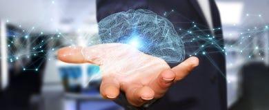 Zakenman die digitale x-ray menselijke 3D renderi van de herseneninterface gebruiken Royalty-vrije Stock Afbeeldingen