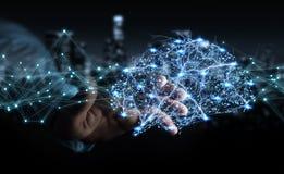 Zakenman die digitale x-ray menselijke 3D renderi van de herseneninterface gebruiken Royalty-vrije Stock Foto