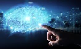 Zakenman die digitale x-ray menselijke 3D renderi van de herseneninterface gebruiken Stock Afbeeldingen