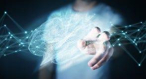 Zakenman die digitale x-ray menselijke 3D renderi van de herseneninterface gebruiken Royalty-vrije Stock Afbeelding