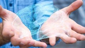 Zakenman die digitale x-ray menselijke hersenen in zijn hand 3D ren houden Stock Foto