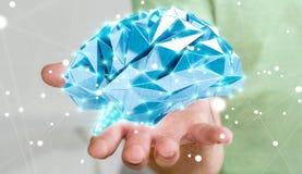 Zakenman die digitale x-ray menselijke hersenen in zijn hand 3D ren houden Stock Foto's
