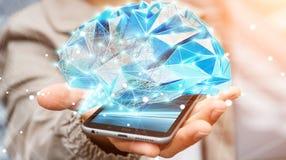 Zakenman die digitale x-ray menselijke hersenen in zijn hand 3D ren houden Stock Fotografie